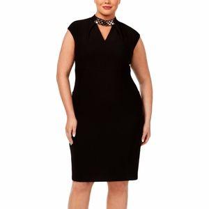Sangria Plus Size Embellished Neck Black Dress W22